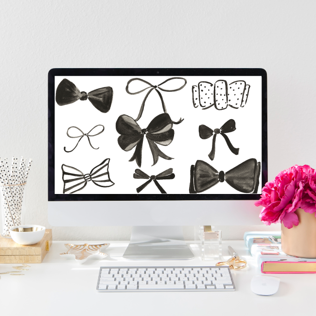 Free Bow Pattern Desktop Wallpaper | Simply Jessica Marie for Some Like it Classic