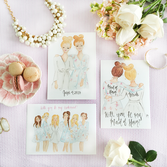 Custom Will You Be My Bridesmaid and Maid of Honor Art Prints by Simply Jessica Marie