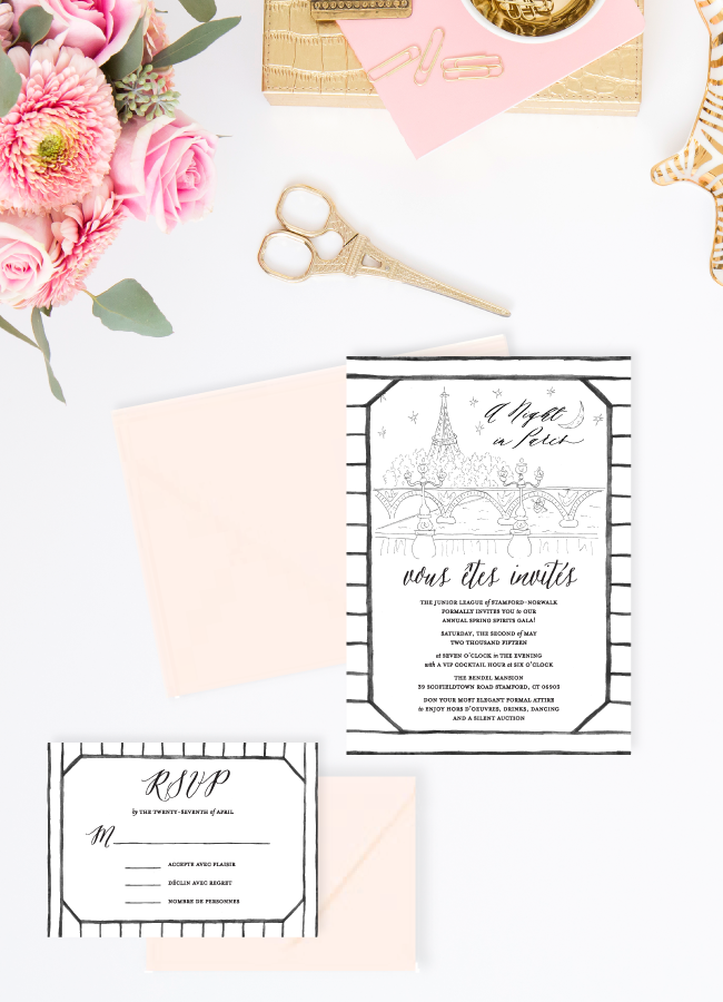 Parisian Blush and Black Invitation Suite by Simply Jessica Marie