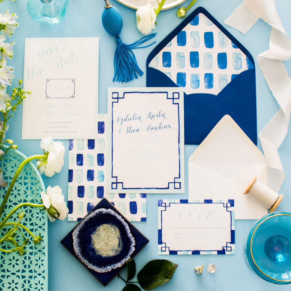 Santorini Wedding Invitation Suite by Simply Jessica Marie