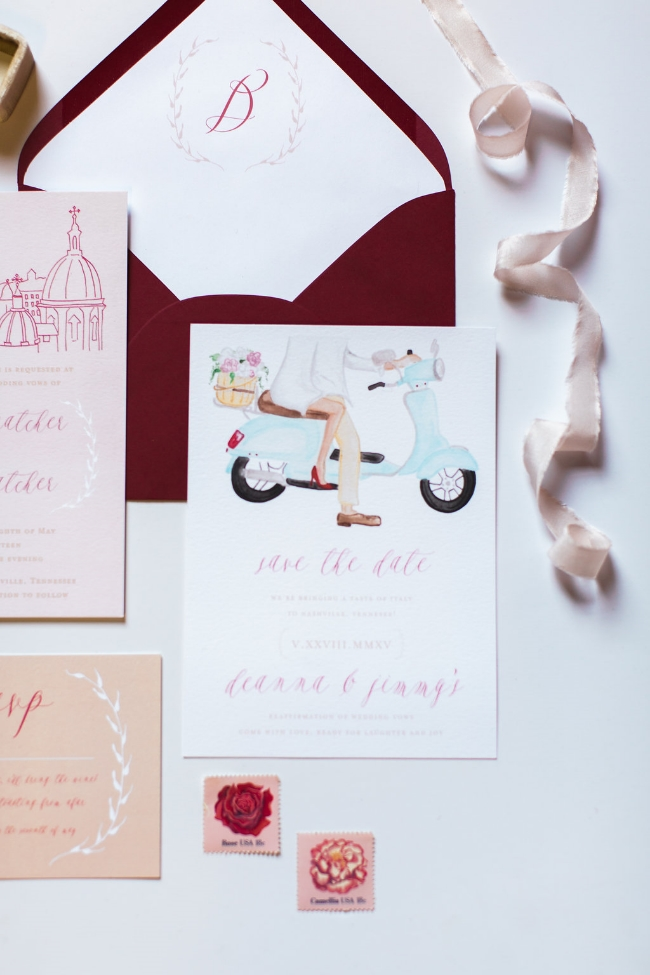Roma Red Wedding Inspiration | Simply Jessica Marie Wedding Invitations | The Big Fake Wedding Nashville featured on Ruffled Blog | Casto Photography