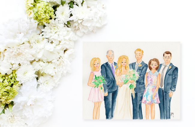 Custom Watercolor Wedding Family Painting by Simply Jessica Marie