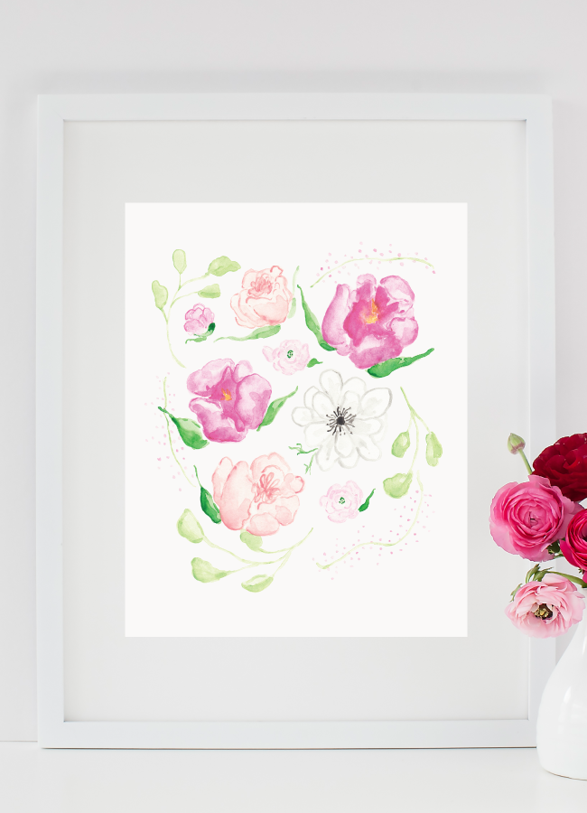 Watercolor Floral Art Print by Simply Jessica Marie