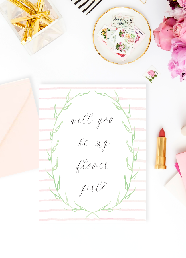 Will You Be My Flower Girl Card with Watercolor Blush Stripes by Simply Jessica Marie