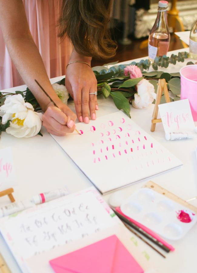 Simply Jessica Marie Brush Calligraphy Workshop at Bella Bridesmaids in Nashville, Tennessee