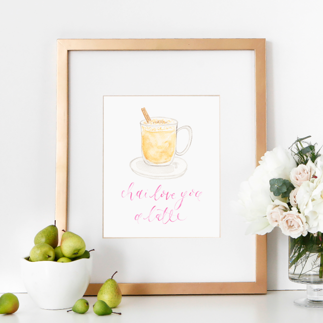 Chai Love You a Latte Watercolor Art Print by Simply Jessica Marie