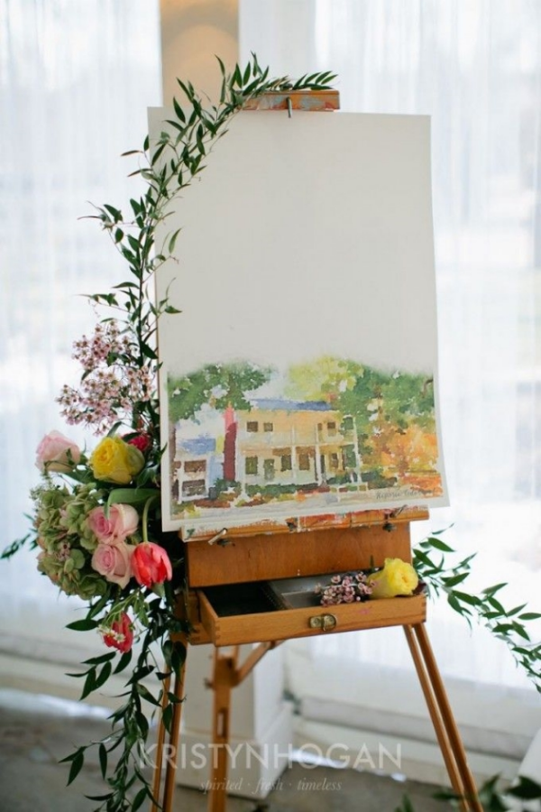 Custom Watercolor Wedding Venue Painting