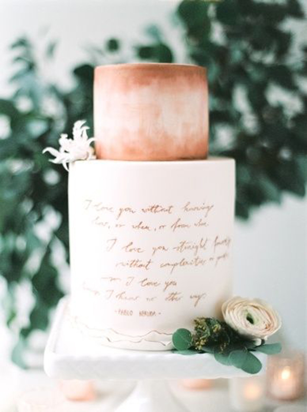 Copper Calligraphy Two Tier Wedding Cake