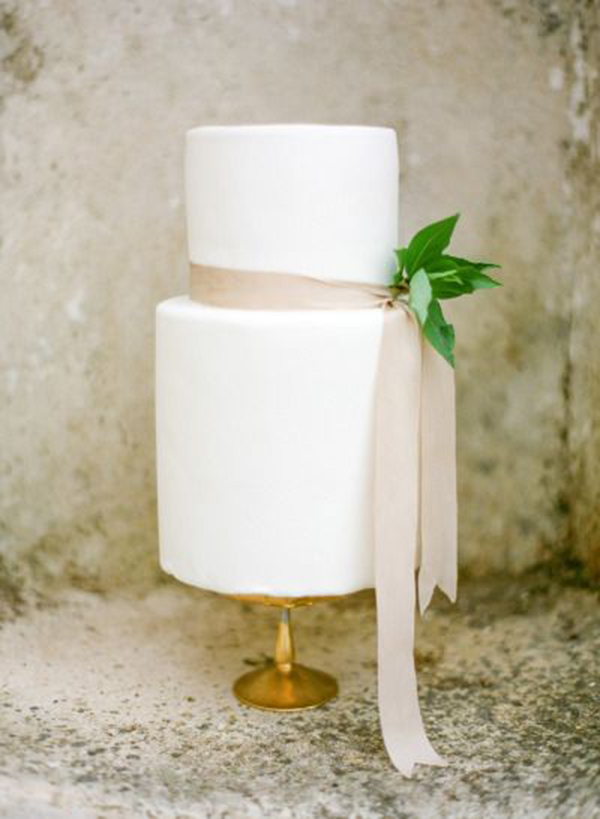 Minimalist Modern Two Tier White Wedding Cake
