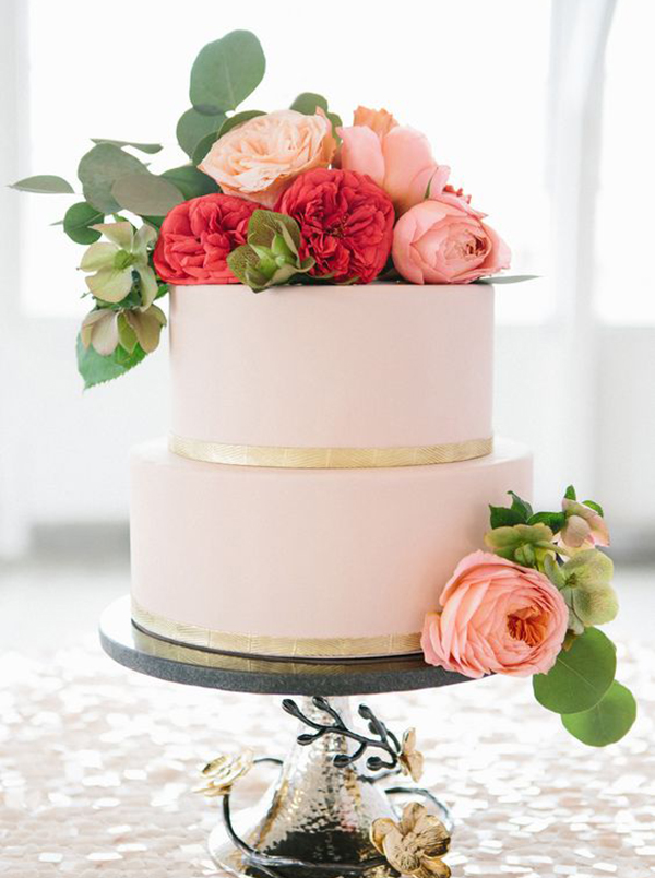 Blush and Gold Two Tier Wedding Cake