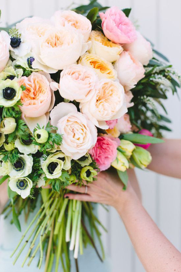 Southern Wedding Floral Inspiration | Fresh Garden Florals in shades of Pink, Green and Navy