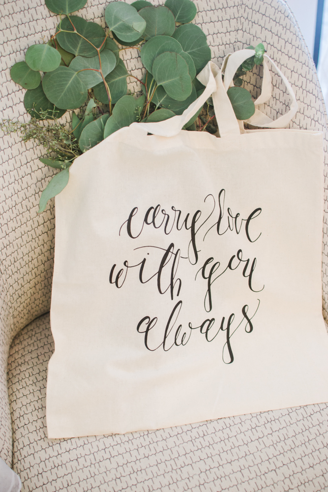 Carry Love With You Always Calligraphy Tote Bag by Simply Jessica Marie