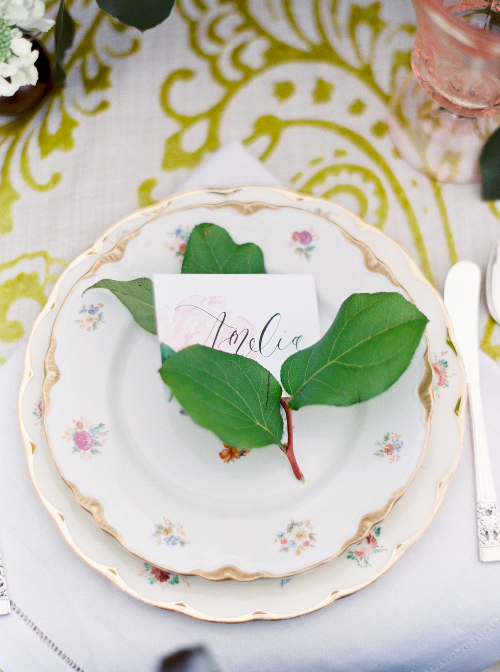 Watercolor and Calligraphy Place Card by Simply Jessica Marie Photographed by Shalyn Nelson for The School of Styling