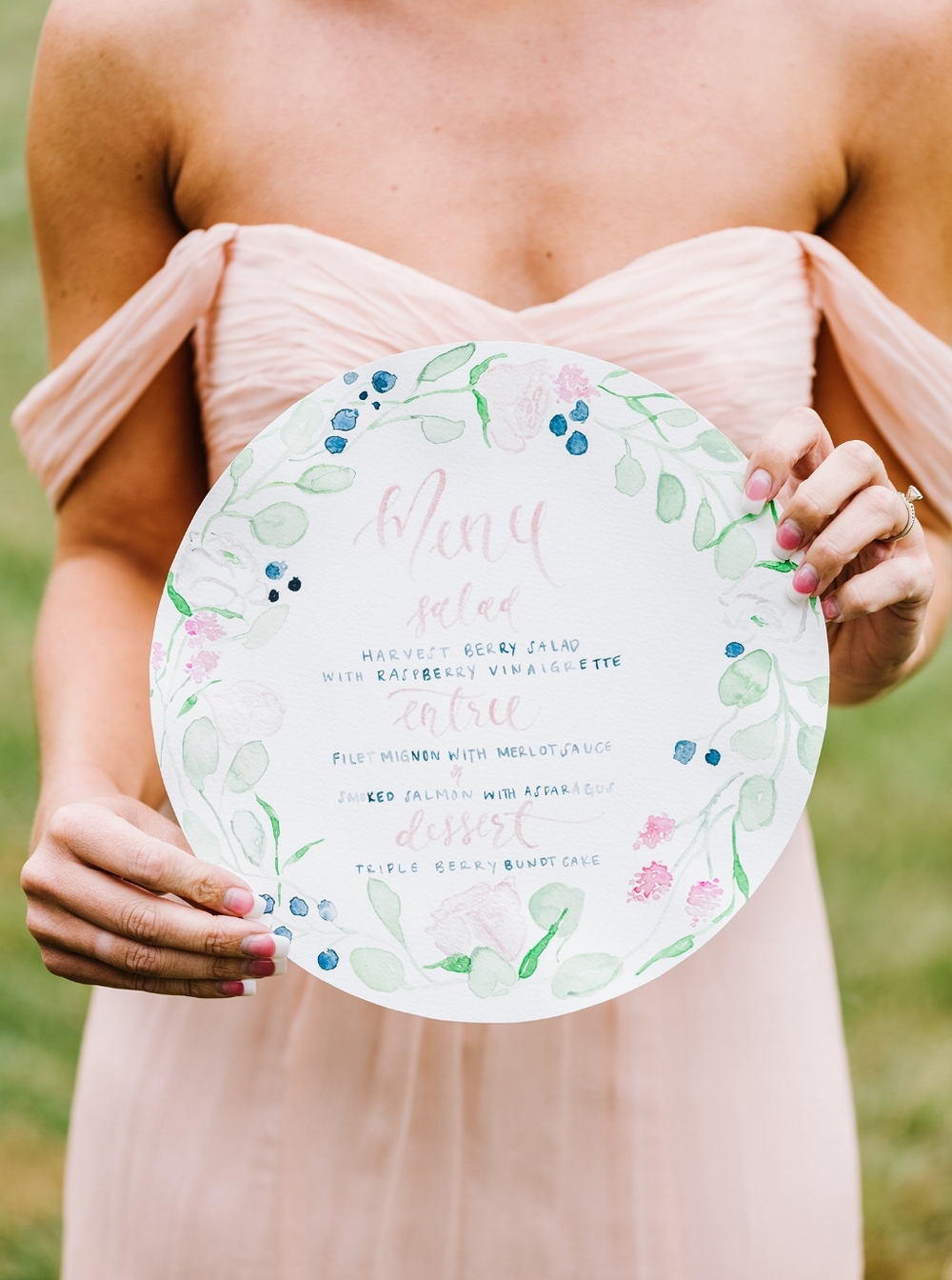 Circle Watercolor Floral and Brush Calligraphy Menu by Simply Jessica Marie Photographed by Annmarie Swift