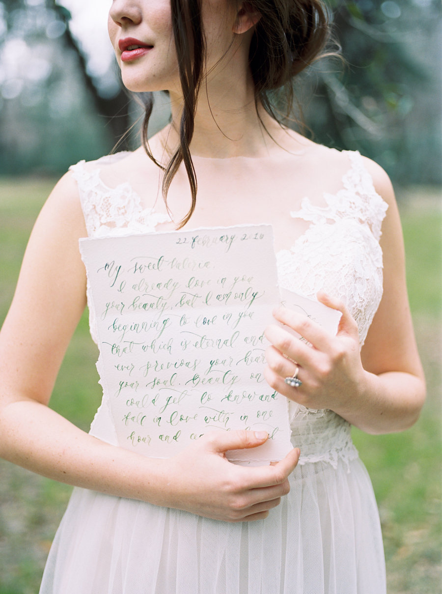 Custom Calligraphy Love Letters on Deckled Edge Paper by Simply Jessica Marie | Abigail Malone Photography