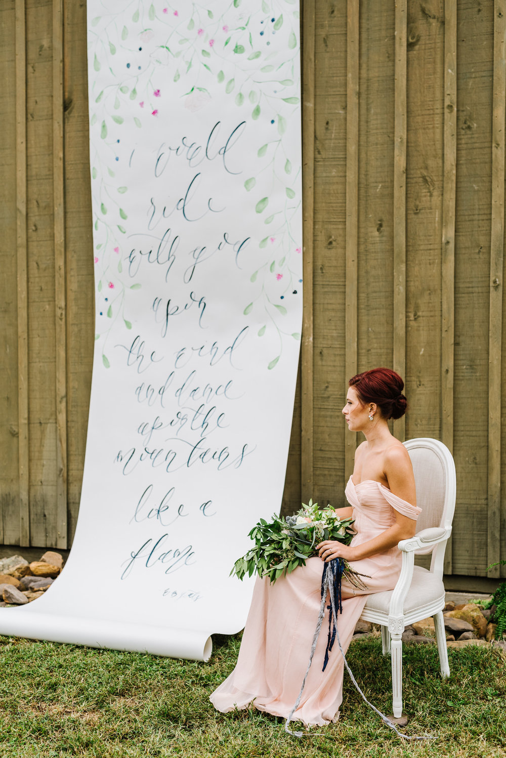 Watercolor Floral and Brush Calligraphy Scroll Backdrop for Wedding Ceremony by Simply Jessica Marie | Annmarie Swift Photography