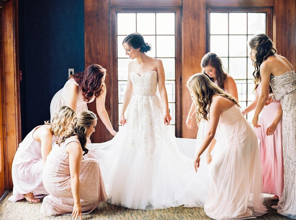 Bride Getting Ready Photos | Reem Acra Wedding Gown and BHLDN Mix and Match Bridesmaids Dresses | Simply Jessica Marie's Southern Wedding | Photo by Perry Vaile Photography