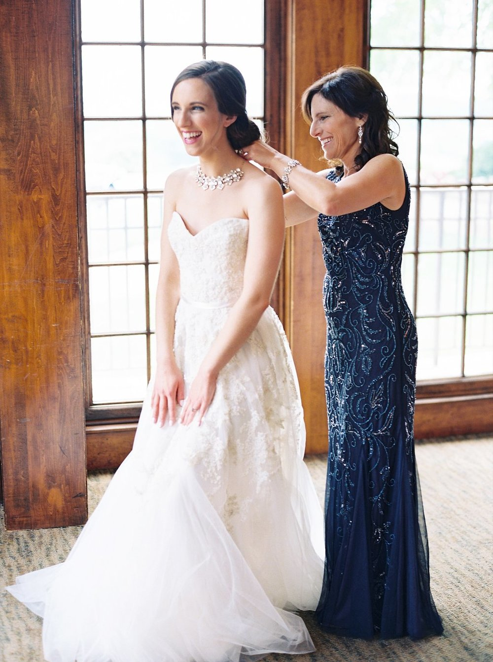 Sweet Bride and Mother of the Bride Getting Ready Photos | Reem Acra Wedding Gown | Simply Jessica Marie's Southern Wedding | Photo by Perry Vaile Photography