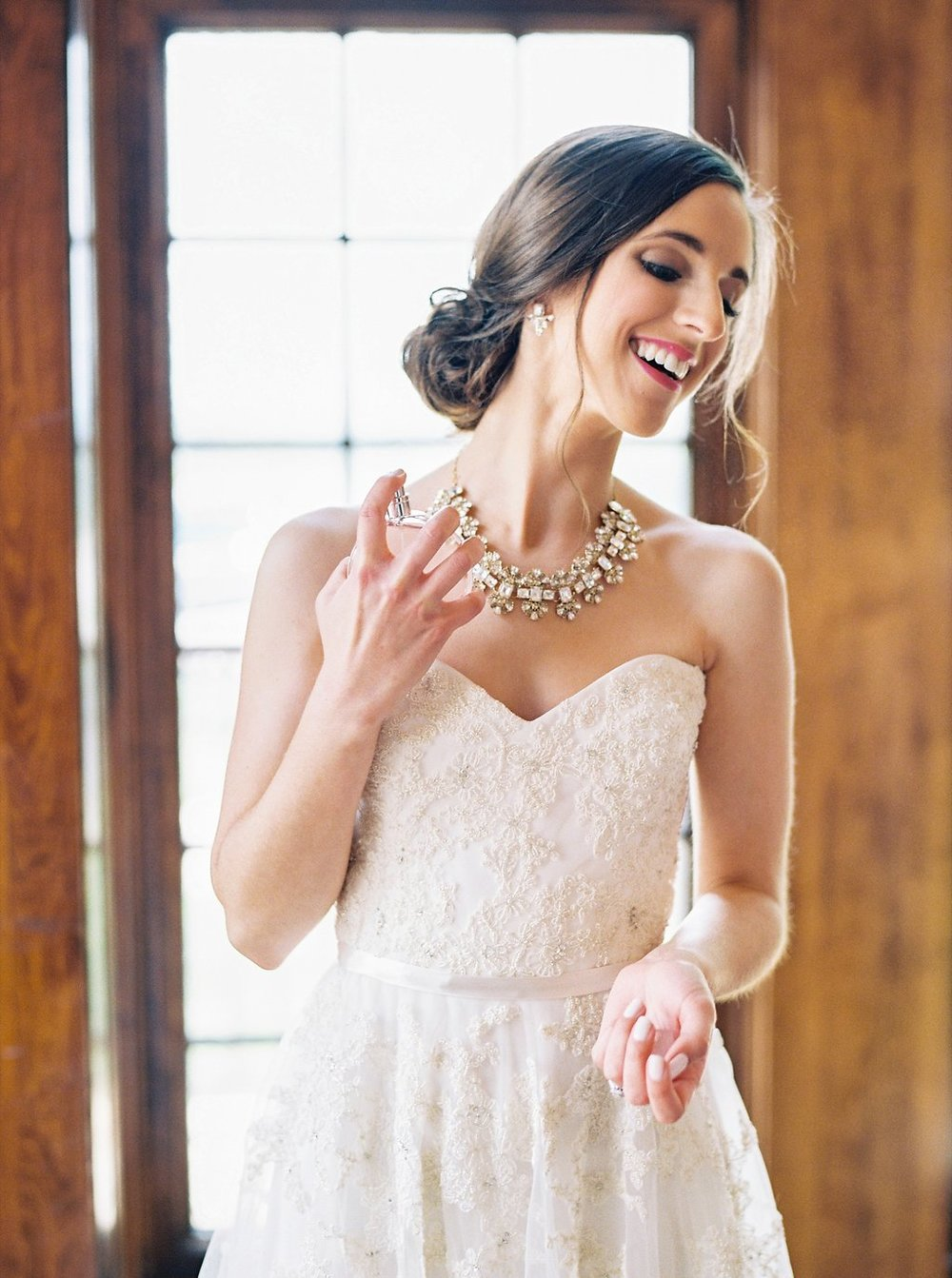 Bride Getting Ready Photos with Chanel Chance Perfume | Reem Acra Wedding Gown | Simply Jessica Marie's Southern Wedding | Photo by Perry Vaile Photography