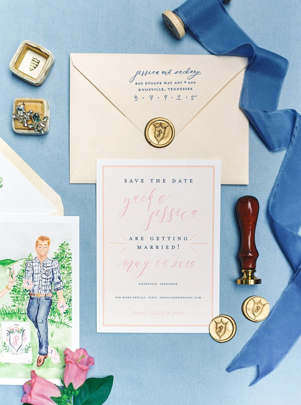 Custom Portrait Illustration Save the Dates with Minimalist Calligraphy Design, Gold Crest Wax Seals, Blue Silk Ribbon, and a Gold Mrs. Box | Blush and Navy Wedding with accents of Fuchsia, French Blue and Gold | Simply Jessica Marie's Southern Wedding | Photo by Perry Vaile Photography