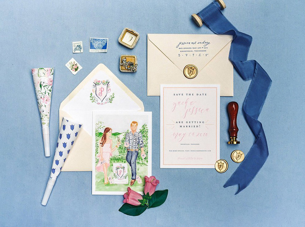 Custom Portrait Illustration Save the Dates with Wedding Corn Hole design, Custom Watercolor Wedding Crest Envelope Liners, Vintage Stamps, Gold Crest Wax Seals, Blue Silk Ribbon, and a Gold Mrs. Box | Blush and Navy Wedding with accents of Fuchsia, French Blue and Gold | Simply Jessica Marie's Southern Wedding | Photo by Perry Vaile Photography