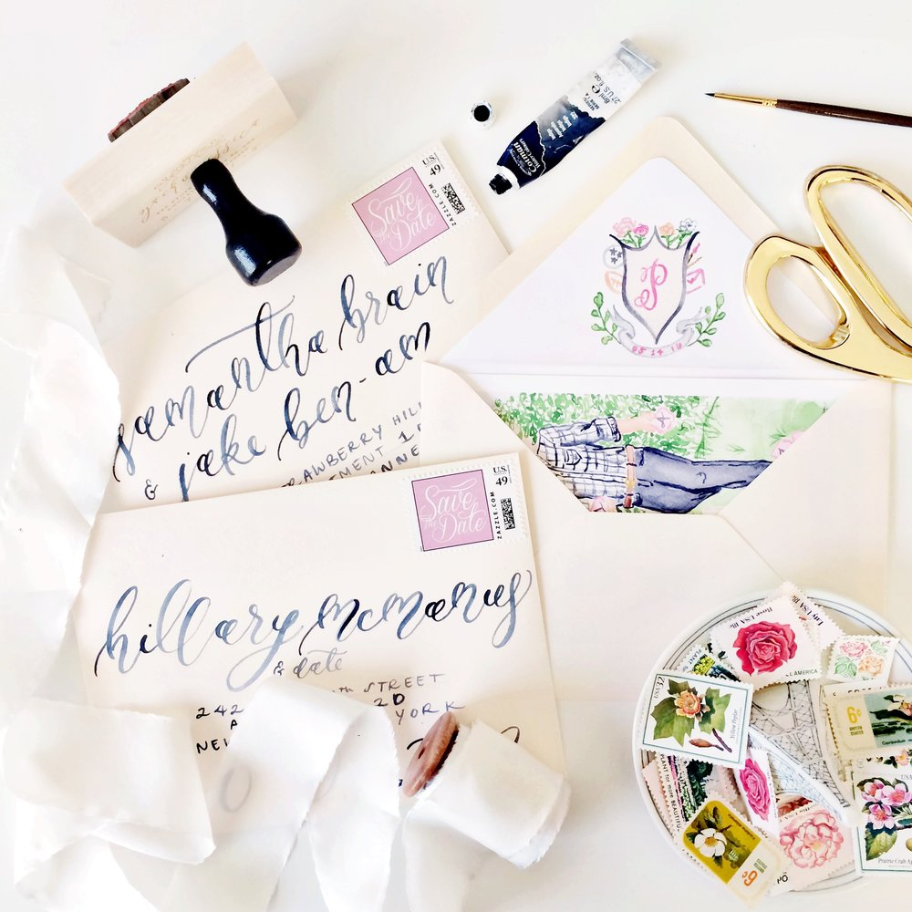 Custom Portrait Illustration Save the Dates with Wedding Corn Hole design, Custom Watercolor Wedding Crest Envelope Liners, and Navy Brush Calligraphy on Blush Envelopes | Blush and Navy Wedding with accents of Fuchsia, French Blue and Gold | Simply Jessica Marie's Southern Wedding | Photo by Perry Vaile Photography