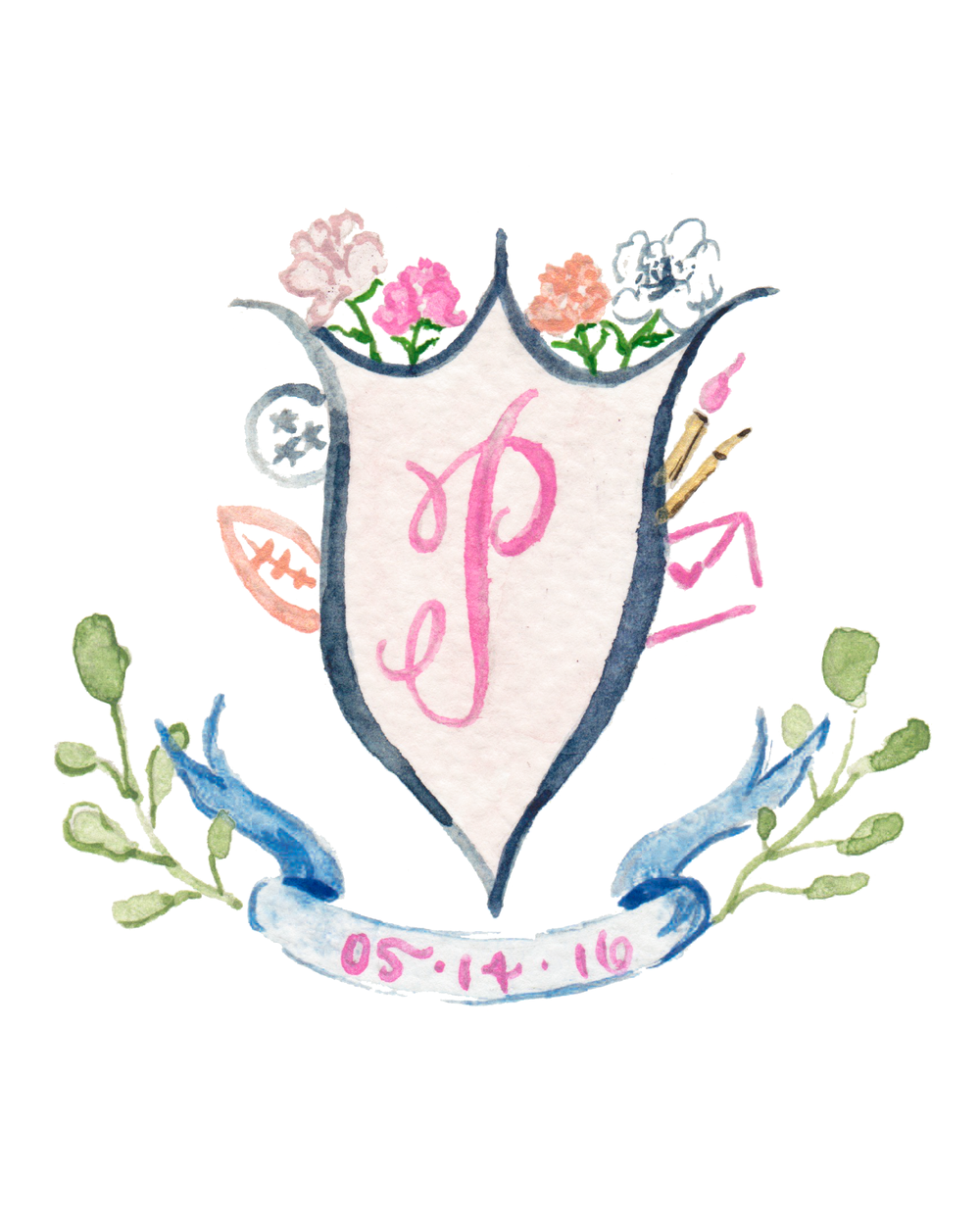 Simply Jessica Marie Custom Watercolor Wedding Crest