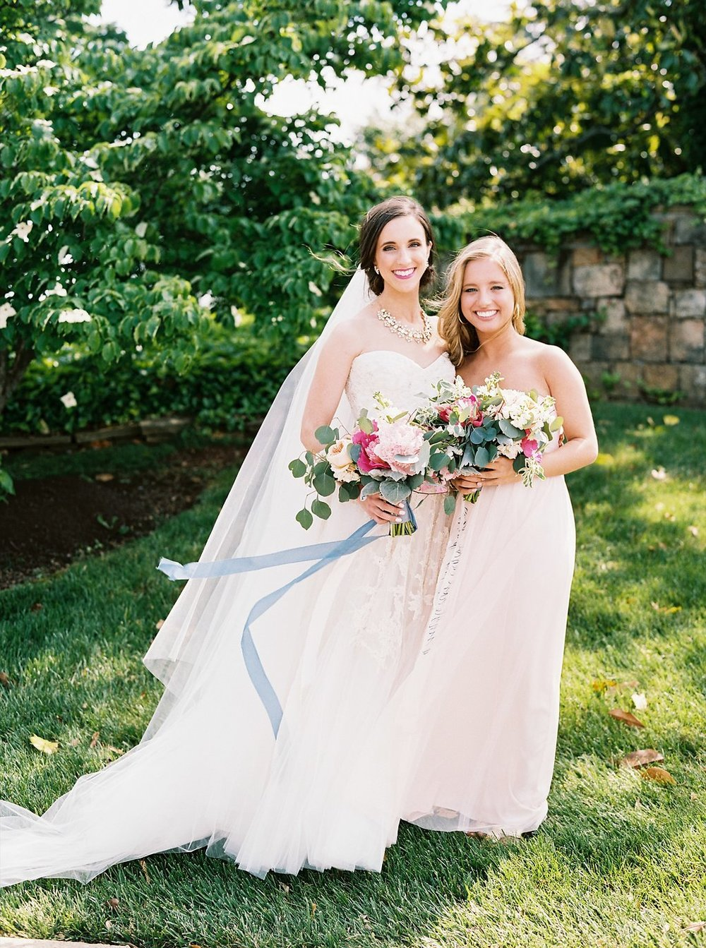 Blush MOH Dress from BHLDN | Blush and Navy Wedding with Fuchsia, French Blue and Gold Accents | Simply Jessica Marie's Southern Wedding | Photo by Perry Vaile Photography