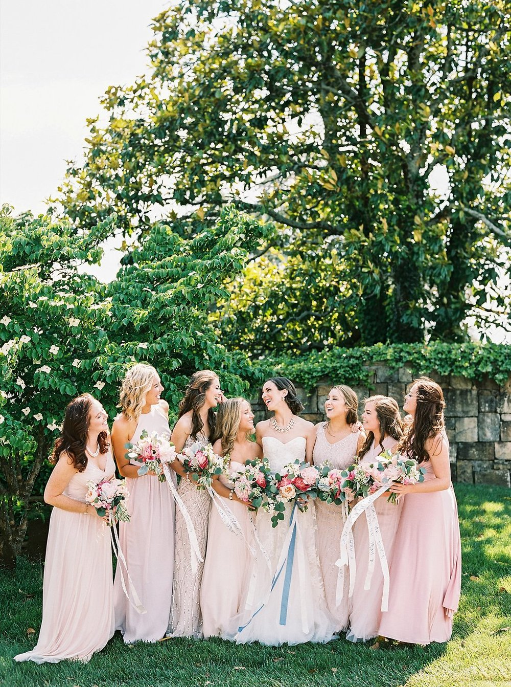 Blush Mix and Match Bridesmaids Dresses from BHLDN | Blush and Navy Wedding with Fuchsia, French Blue and Gold Accents | Simply Jessica Marie's Southern Wedding at Gettysvue Golf Course and Country Club in Knoxville Tennessee | Photo by Perry Vaile Photography