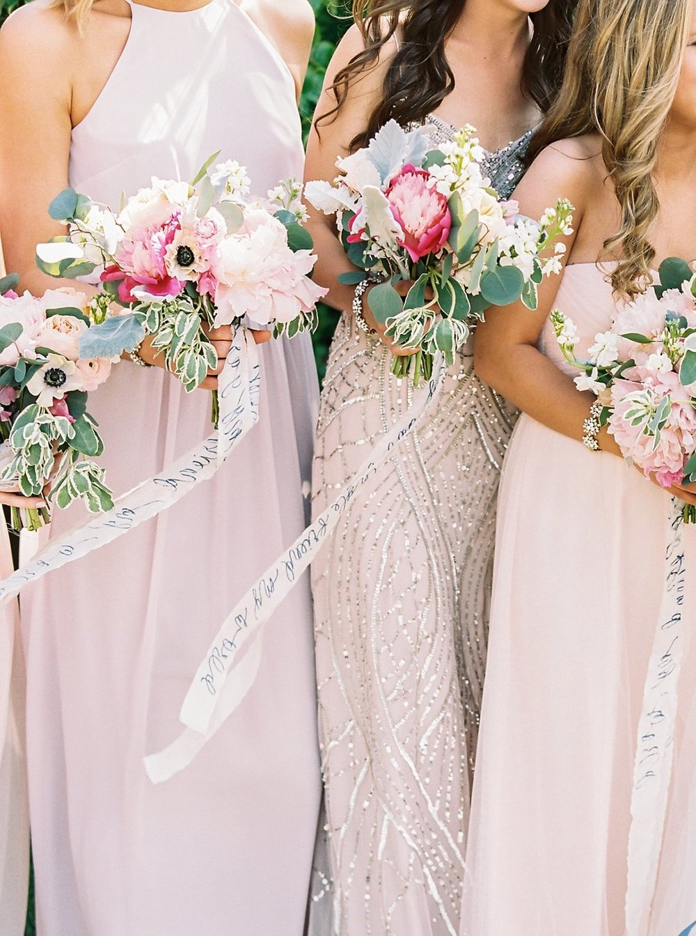 Blush Mix and Match Bridesmaids Dresses from BHLDN with Navy Calligraphy on Ivory Silk Bouquet Ribbon from FrouFrou Chic | Blush and Navy Wedding with Fuchsia, French Blue and Gold Accents | Simply Jessica Marie's Southern Wedding at Gettysvue Golf Course and Country Club in Knoxville Tennessee | Photo by Perry Vaile Photography