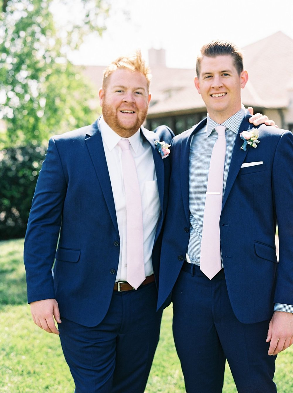 Navy Groomsmen with Blush Ties | Blush and Navy Wedding with Fuchsia, French Blue and Gold Accents | Simply Jessica Marie's Southern Wedding | Photo by Perry Vaile Photography