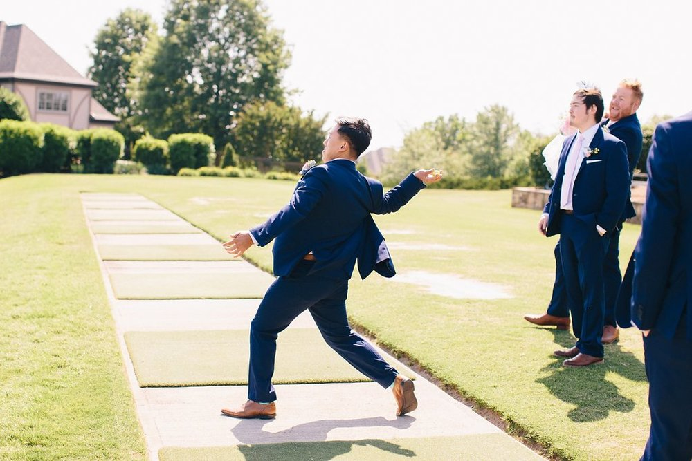 Navy Groomsmen with Blush Ties and Groom with Navy Gingham Shirt and Patterned Pocket Square | Blush and Navy Wedding with Fuchsia, French Blue and Gold Accents | Simply Jessica Marie's Southern Wedding at Gettysvue Golf Course and Country Club in Knoxville Tennessee | Photo by Perry Vaile Photography