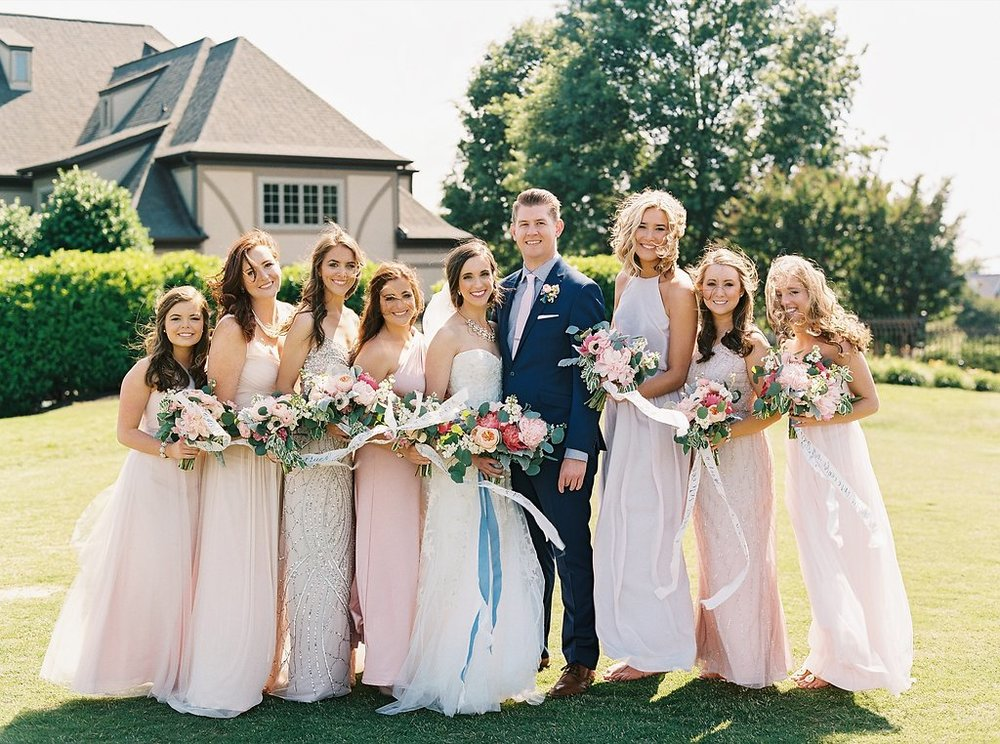 Blush Mix and Match Bridesmaids Dresses from BHLDN with Navy Calligraphy on Ivory Silk Bouquet Ribbon from FrouFrou Chic and Navy Groomsmen with Blush Ties and Groom with Navy Gingham Shirt and Patterned Pocket Square | Blush and Navy Wedding with Fuchsia, French Blue and Gold Accents | Simply Jessica Marie's Southern Wedding at Gettysvue Golf Course and Country Club in Knoxville Tennessee | Photo by Perry Vaile Photography