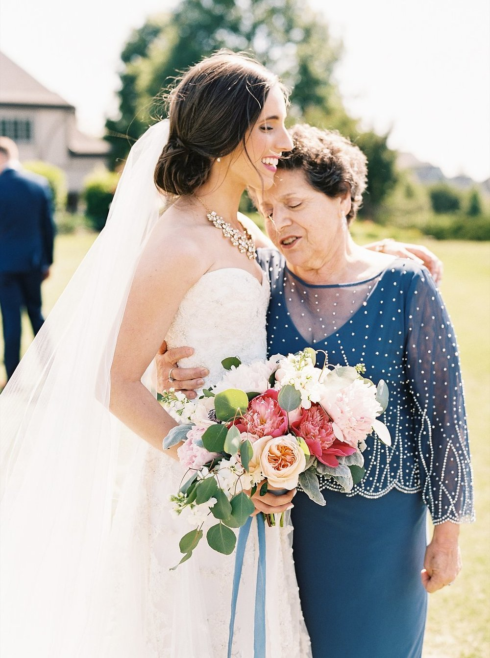 Bride and Grandma First Look | Blush and Navy Wedding with Fuchsia, French Blue and Gold Accents | Simply Jessica Marie's Southern Wedding | Photo by Perry Vaile Photography