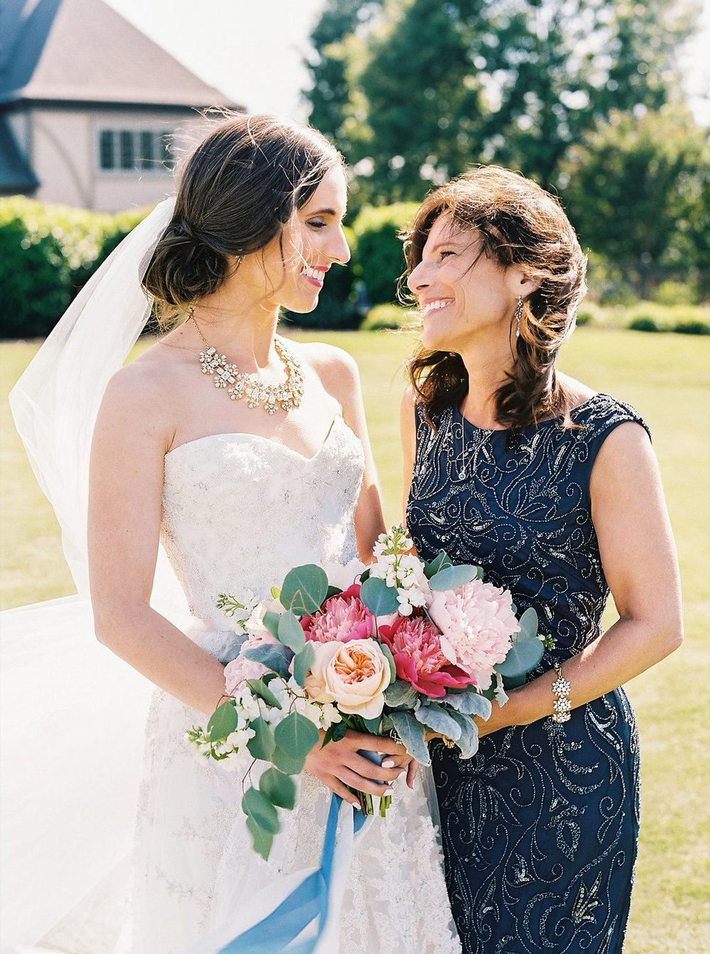 Sweet Bride and Mother of the Bride Moment | Blush and Navy Wedding with Fuchsia, French Blue and Gold Accents | Simply Jessica Marie's Southern Wedding | Photo by Perry Vaile Photography