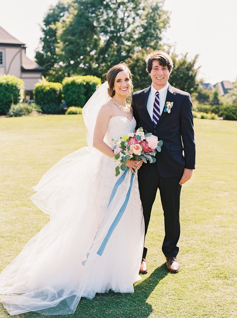 Sweet Bride and Brother of the Bride Moment | Blush and Navy Wedding with Fuchsia, French Blue and Gold Accents | Simply Jessica Marie's Southern Wedding | Photo by Perry Vaile Photography