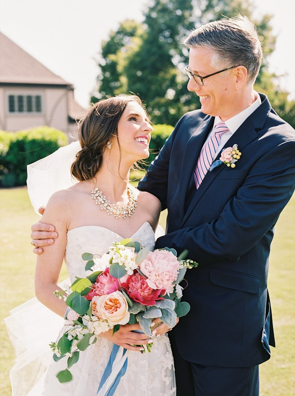 Sweet Bride and Father of the Bride Moment | Blush and Navy Wedding with Fuchsia, French Blue and Gold Accents | Simply Jessica Marie's Southern Wedding at Gettysvue Golf Course and Country Club in Knoxville Tennessee | Photo by Perry Vaile Photography