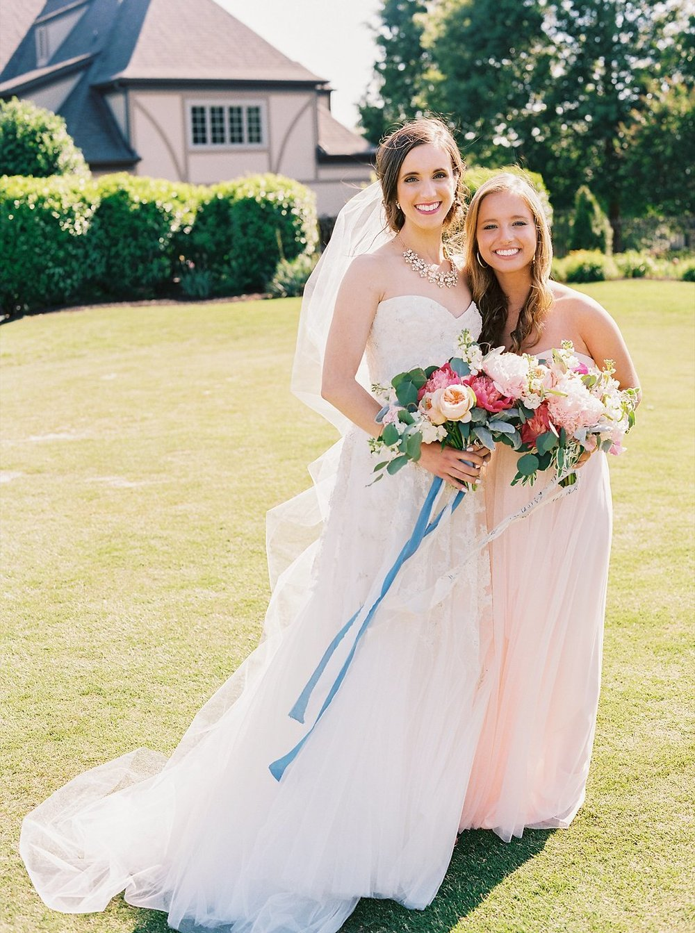 Sweet Bride and Maid of Honor Moment | Blush and Navy Wedding with Fuchsia, French Blue and Gold Accents | Simply Jessica Marie's Southern Wedding | Photo by Perry Vaile Photography