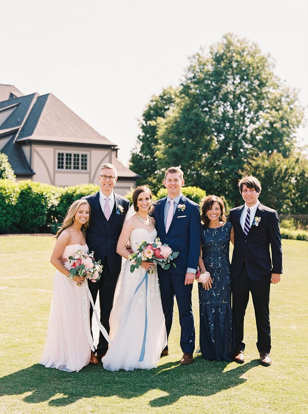 Bride Family Portrait | Blush and Navy Wedding with Fuchsia, French Blue and Gold Accents | Simply Jessica Marie's Southern Wedding | Photo by Perry Vaile Photography