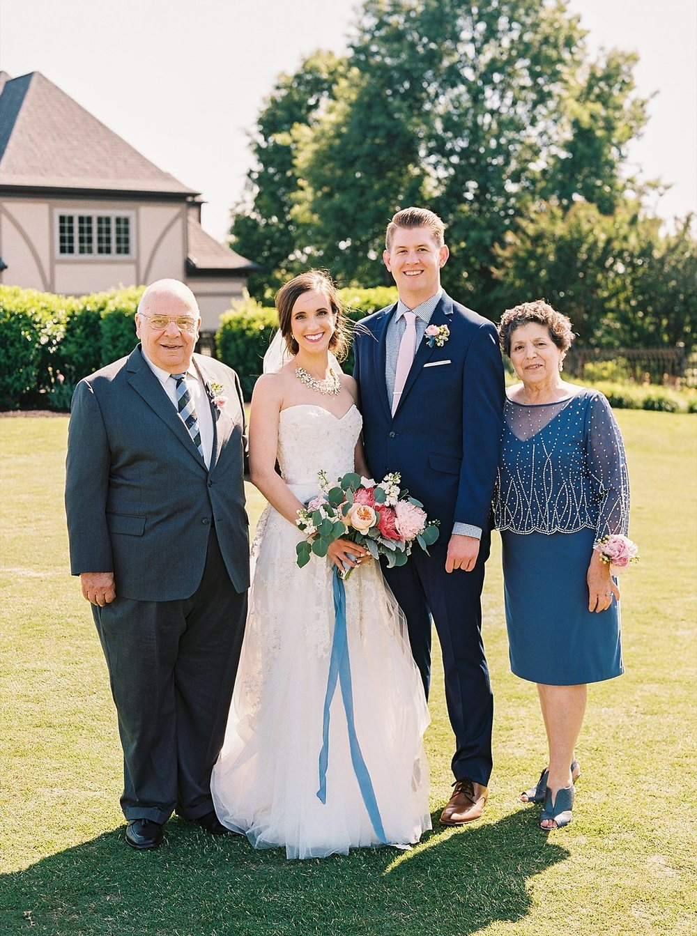 Bride Grandparents Family Portrait | Blush and Navy Wedding with Fuchsia, French Blue and Gold Accents | Simply Jessica Marie's Southern Wedding | Photo by Perry Vaile Photography