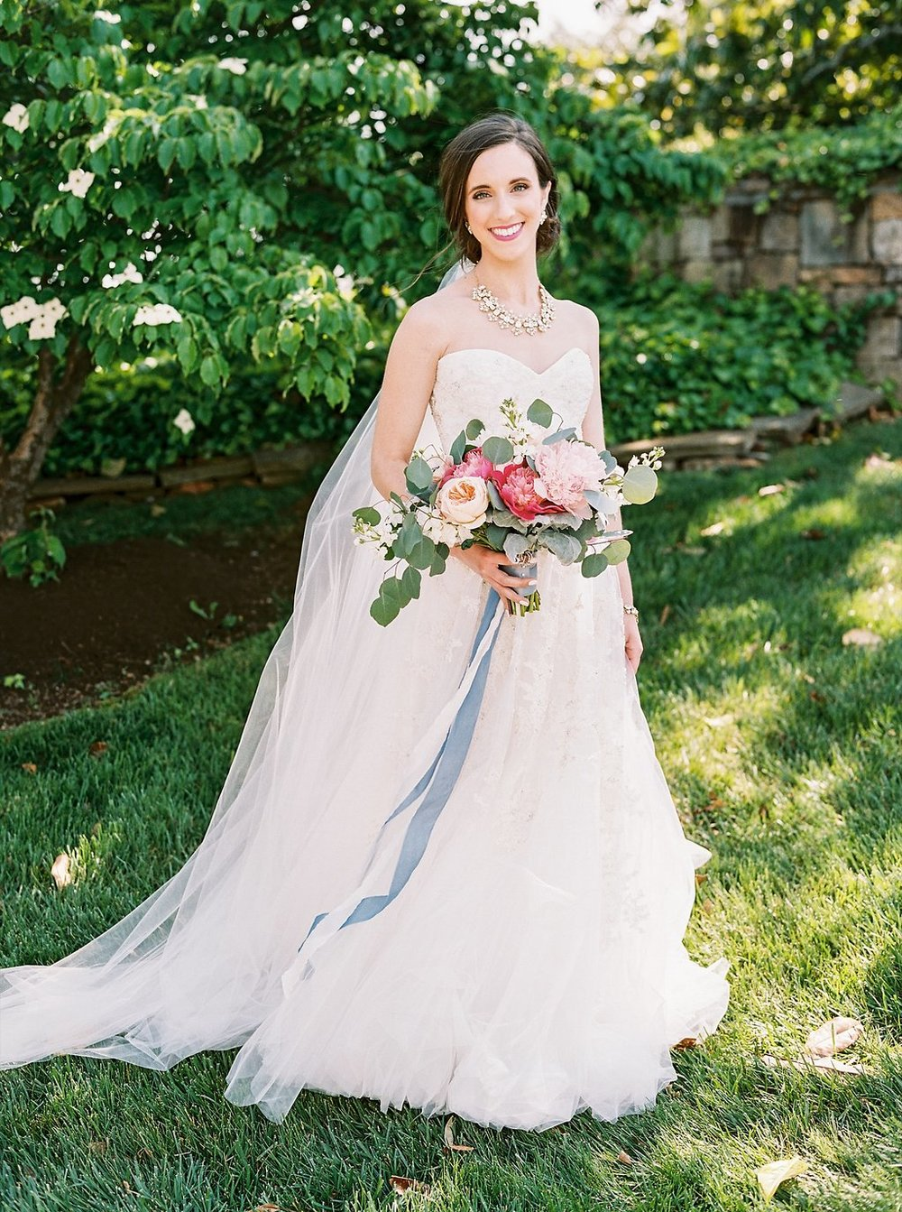 Bride in Reem Acra Gown | Blush and Navy Wedding with Fuchsia, French Blue and Gold Accents | Simply Jessica Marie's Southern Wedding | Photo by Perry Vaile Photography
