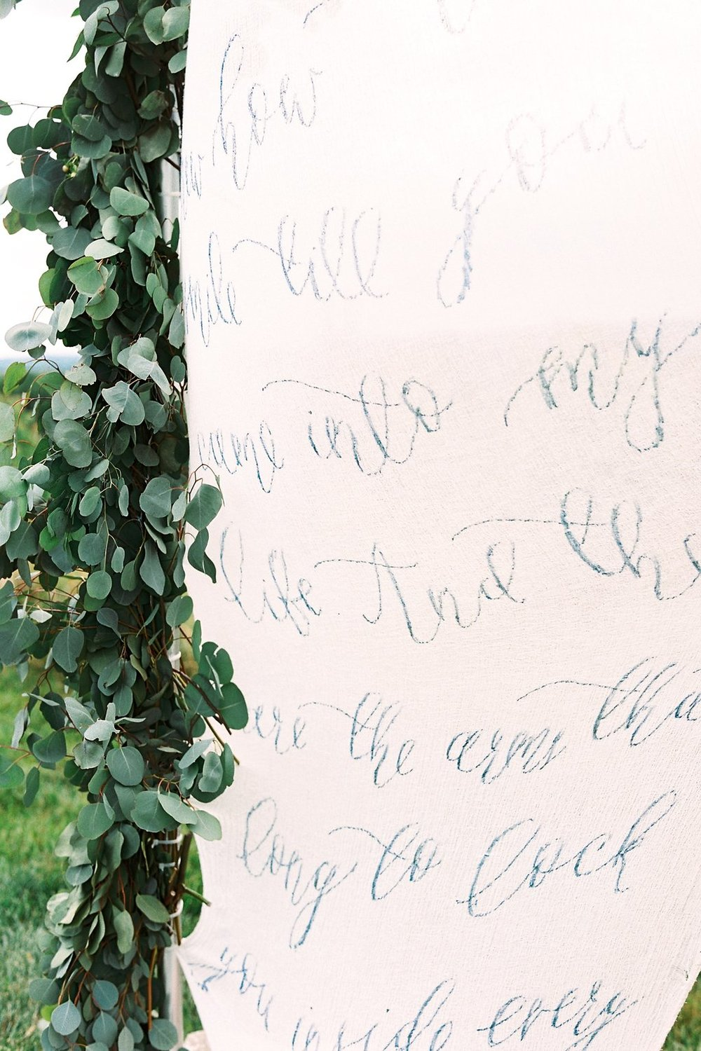 Navy Calligraphy Fabric Ceremony Backdrop | Blush and Navy Wedding with Fuchsia, French Blue and Gold Accents | Simply Jessica Marie's Southern Wedding | Photo by Perry Vaile Photography