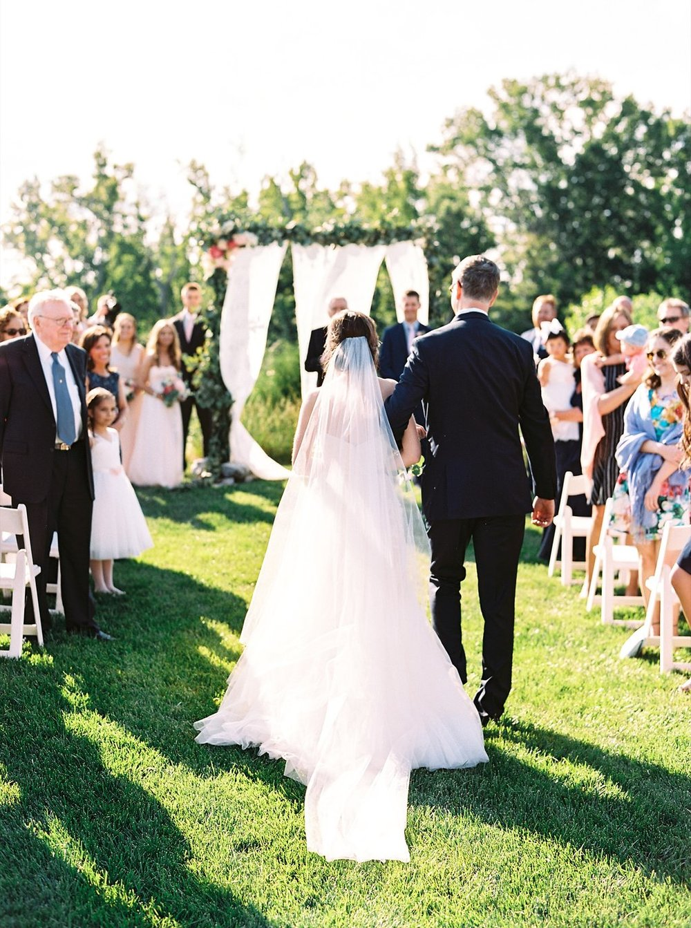 Bride Walking Down the Aisle at an Outdoor Southern Wedding Ceremony | Blush and Navy Wedding with Fuchsia, French Blue and Gold Accents | Simply Jessica Marie's Southern Wedding at Gettysvue Golf Course and Country Club in Knoxville Tennessee | Photo by Perry Vaile Photography