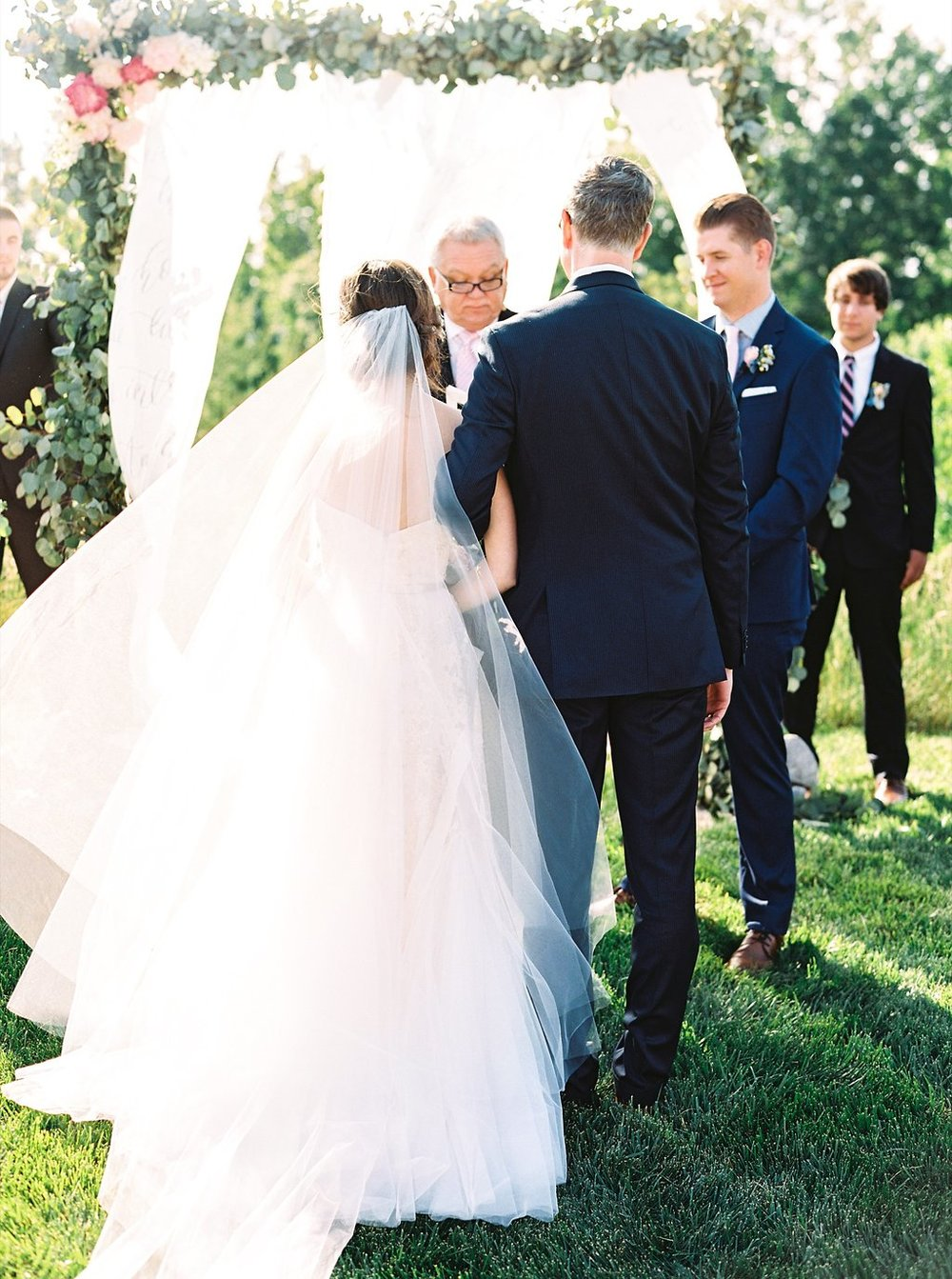 Father Giving Away Bride at an Outdoor Southern Wedding Ceremony | Blush and Navy Wedding with Fuchsia, French Blue and Gold Accents | Simply Jessica Marie's Southern Wedding at Gettysvue Golf Course and Country Club in Knoxville Tennessee | Photo by Perry Vaile Photography