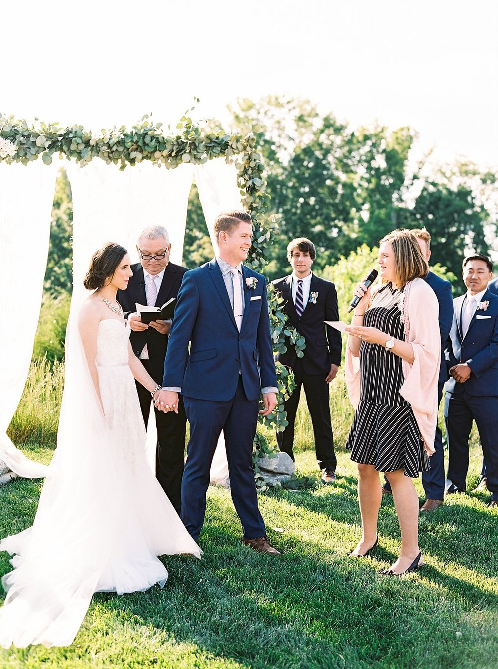 Outdoor Southern Wedding Ceremony | Blush and Navy Wedding with Fuchsia, French Blue and Gold Accents | Simply Jessica Marie's Southern Wedding | Photo by Perry Vaile Photography