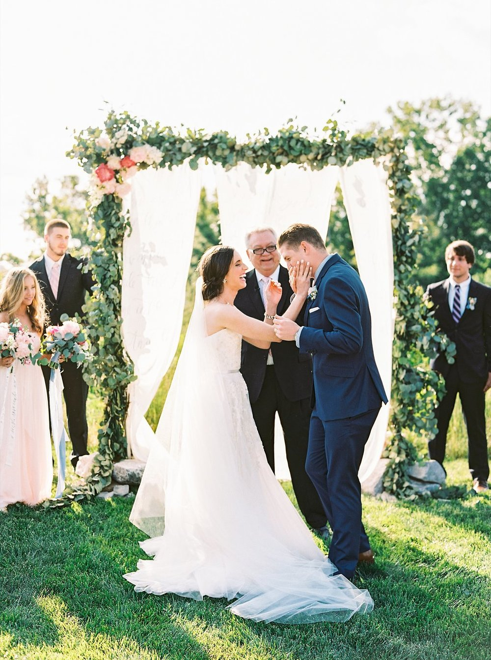 Outdoor Southern Wedding Ceremony | Blush and Navy Wedding with Fuchsia, French Blue and Gold Accents First Kiss | Simply Jessica Marie's Southern Wedding at Gettysvue Golf Course and Country Club in Knoxville Tennessee | Photo by Perry Vaile Photography
