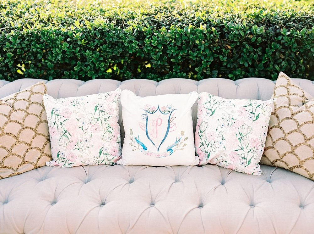 Cocktail Hour Lounge Soft Seating Area with Custom Watercolor Pillows | Blush and Navy Wedding with Fuchsia, French Blue and Gold Accents | Simply Jessica Marie's Southern Wedding at Gettysvue Golf Course and Country Club in Knoxville Tennessee | Photo by Perry Vaile Photography
