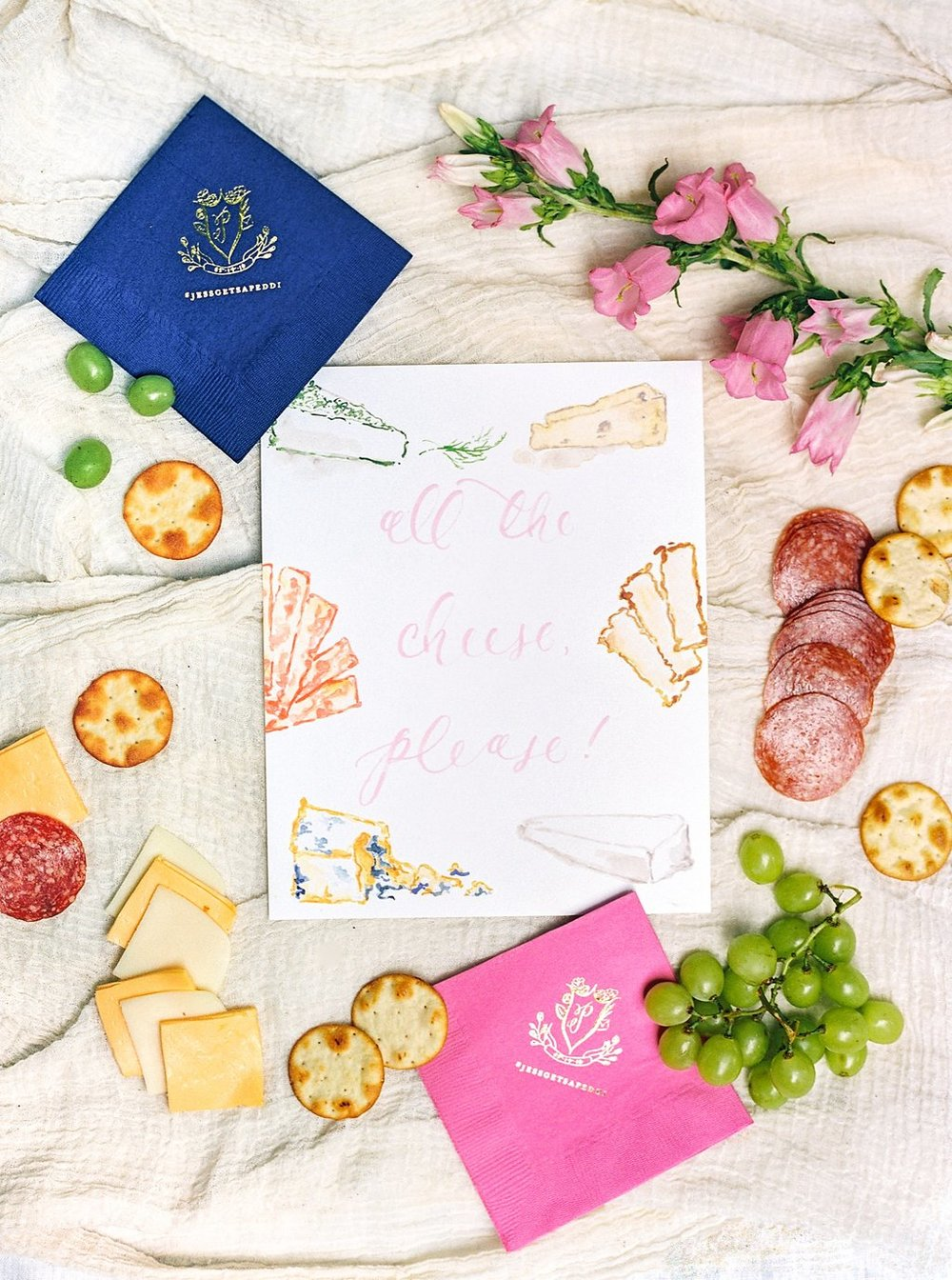 Custom Watercolor Cheese Signage and Custom Gold Foil Wedding Crest Cocktail Napkins | Blush and Navy Wedding with Fuchsia, French Blue and Gold Accents | Simply Jessica Marie's Southern Wedding at Gettysvue Golf Course and Country Club in Knoxville Tennessee | Photo by Perry Vaile Photography