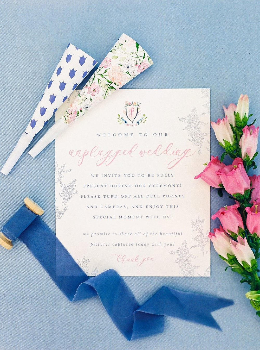 Unplugged Wedding Sign | Blush and Navy Wedding with Fuchsia, French Blue and Gold Accents | Simply Jessica Marie's Southern Wedding at Gettysvue Golf Course and Country Club in Knoxville Tennessee | Photo by Perry Vaile Photography