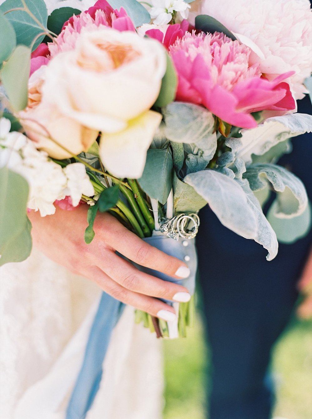Blush and Fuchsia Peony Bridal Bouquet with Peach Juliet Garden Roses and Bridesmaids' Blue rings as Something Borrowed and Something Blue | Blush and Navy Wedding with Fuchsia, French Blue and Gold Accents | Simply Jessica Marie's Southern Wedding at Gettysvue Golf Course and Country Club in Knoxville Tennessee | Photo by Perry Vaile Photography